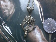 Walking Dead Daryl Crossbow Angel Wings Necklace Bronze