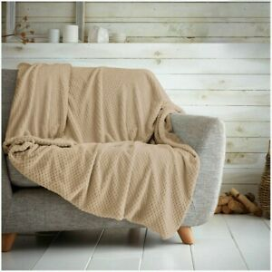 Luxury Waffle Honeycomb Popcorn Throw Blanket Soft Warm Travel Bedspread