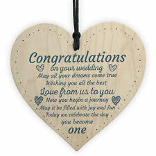 Wedding Gift Mr and Mrs Bridal Bridesmaid Gift Wood Heart Congratulations Plaque