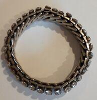 1950s vintage EMPIRE MADE silver tone White Diamante Elasticated Bracelet.