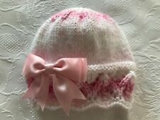 New Hand Knitted Baby Girl's Pink and White  Beanie Hat With Pink Bow 0 -3 Mths