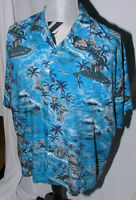 Men's Hawaiian Shirt Sz XL Ocean Currents Resort Aloha Surf Tiki Hut Rayon Blue
