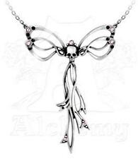 Alchemy Gothic Matrimony Skull Pendant Necklace Crystal Pewter P659
