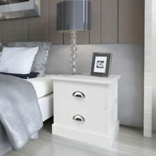 2 Pcs French Bedside Nightstand Cabinets White With Drawers