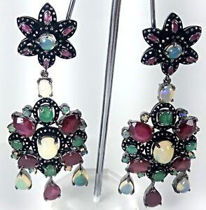 Natural Opal Gemstone Diamond Earring Dangle Drop Ruby Earring Handmade Jewelry