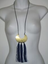 Banana Republic BLUE Tassel Drop Brass Moon Pendant Necklace NWT $55.00