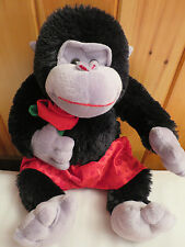 Black Plush Monkey Gorilla Ape Red Boxers w Hearts Holding a Rose