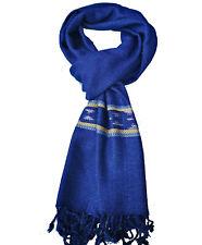 Schal - Bio-Baumwolle - Indigo Blau/gelb mit Muster, Handarbeit