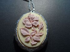 VICTORIAN OVAL STERLING SILVER PLATED CREAM WITH PEACH FLOWER CAMEO  LOCKET.