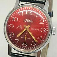 Cornavin Raketa Rare Soviet Wrist Watch Mechanical Vintage USSR Red Dial dolphin