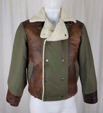 Vintage Tonys Custom Tailor Snakeskin Leather Canvas Sherpa Bomber Jacket Mens S