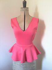 Ladies BooHoo Lace Back Coral Pink Peplum Top with Lace Size 6 EUR34   NEW