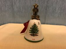 2014 Spode Christmas Tree Bell Ornament Teddy Bear Green Red Ivory Holiday