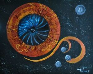 Steampunk/blue butterfly/Original/artwork/gothic art/fantasy/painting/planet