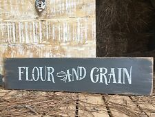 """Large Rustic Wood Sign - """"Flour And grain"""" Farmhouse STYLE  Kitchen"""