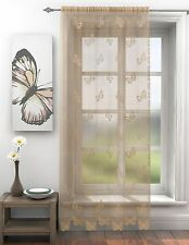 Butterfly Trail Voile Lace Curtain Panel Slot Top Pink Ivory Latte Black Grey