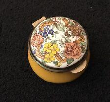 STAFFORDSHIRE ENAMELS COUNTRY DIARY EDWARDIAN LADY FLOWERS TRINKET PILL BOX