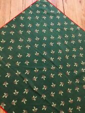 Christmas Tablecloth. Green Red White .Holly.Square Cotton Christmas Tablecloth.