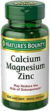 Calcium Magnesium Zinc Caplets Nature's Bounty Bone 100-Count Mineral Supplement