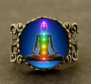Größenverstellbar  Meditation Buddhistischen Energie Healing Cabochon 2cm Glass