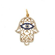 Aaron Basha 18ct Rose Gold 0.44ct Diamond & Sapphire Hand of Hamsa Pendant
