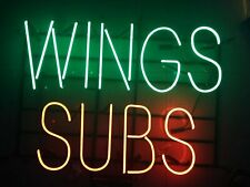 """New Wings Subs Neon Light Sign 17""""x14"""" Man Cave Home Wall Bar Cafe Decor Lamp"""