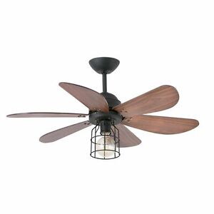 """Small ceiling fan light with remote control Chicago Black & Walnut 91 cm 36"""""""