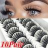 10Pairs 3D Soft Faux Mink Hair False Eyelashes Wispy Lashes Extension Eye Makeup