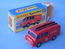 Lesney Matchbox Superfast 57 Land Rover Fire Truck BLACK LADDER  Boxed