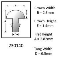 Sintoms 18% Nickel Silver Fret Wire 2.3mm. Set of 12 pieces