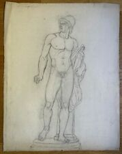 Large Academic Drawing, nude man sculpture Diomedes by Sergel, 19th century