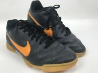 Nike Tiempo Rio Indoor Soccer Shoes Youth Size 4.5Y Black Orange 509036-080