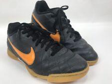 Nike Tiempo Rio Indoor Soccer Shoes Black Orange 509036-080 Size 4.5Y Youth