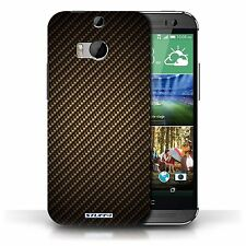 Stuff4 Phone Case/back Cover for HTC One/1 M8 /carbon Fibre Effect/pattern Gold