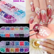 3000Pcs Nail Art Tips Gems Crystal Glitter Rhinestone DIY Decoration With Case