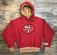 Vintage San Francisco 49ers Red Gold Sitched Logo Hoodie Sweater Men's M 🚚FREE