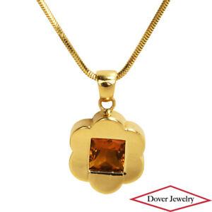 Italian Citrine 18K Gold Elegant Flower Pendant Chain Necklace 10.4 Grams NR