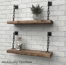 New -  Stunning Handmade Rustic Chain Shelf Solid Wood x 1 60cm 'SAVE 15%'