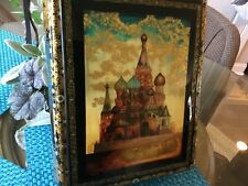 "RUSSIAN BLACK LACQUER BOX, VILLAGE OF FEDOSKINO CALLED ""ST. BASILS CATHEDRAL """