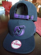 New Jersey Devils Nhl Pop Unda Flat Bill Brim Black Purple Plaid Hat Cap Lid Nj