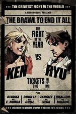 STREET FIGHTER V ~ Ken vs Ryu Fight Card ~24x36 VIDEO GAME POSTER ~ NEW/ROLLED!