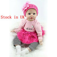"Soft Body Reborn Baby Girl Doll Real Life Like 22"" Vinyl Silicone Newborn Dolls"