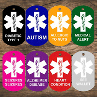 Medical Alert ID Tags | Personalized Front and Back | Medical Tags (Set of 2}