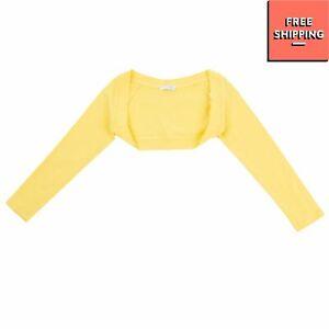 ARTIGLI GIRL Jersey Bolero Size 6Y Yellow Rhinestoned Logo Made in Italy