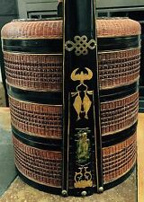 Antique Chinese Wedding Basket 3 Tier Stacked - Dowery