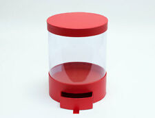 6Pcs/Case Clear Round Shape Bouquet Flower Box with Red Lid and Base with Drawer