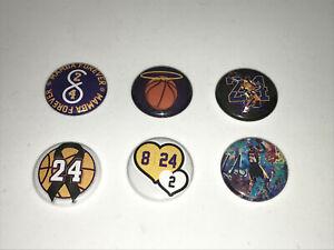"1"" SET OF 6 KOBE BRYANT LA LOS ANGELES LAKERS LAPEL BUTTON PINS PINBACK [P310]"