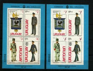 Uruguay police corps shield rooster lighthose uniforms + scarce imperforated
