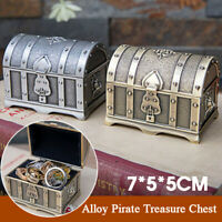 Vintage Small Alloy Pirate Treasure Chest Jewelry Box Container Storage Case