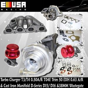 T3/T4 Turbo Charger +Cast Iron Manifold+Adj.Wastegate for 88-00 Civic D15/D16